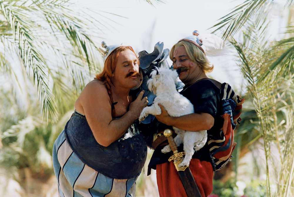 Asterix and Obelix with their dog Idefix